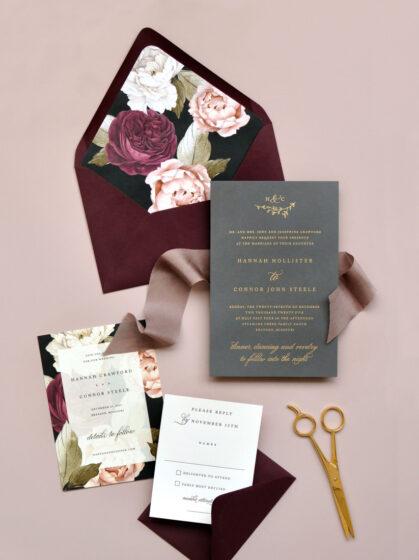 покани за сватба с цветя